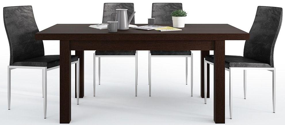 Pello Extending Dining Table and 4 Milan Black Chairs - Dark Mahogany