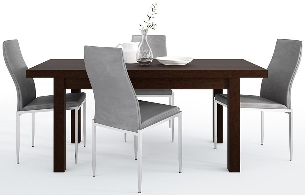 Pello Extending Dining Table and 4 Milan Grey Chairs - Dark Mahogany