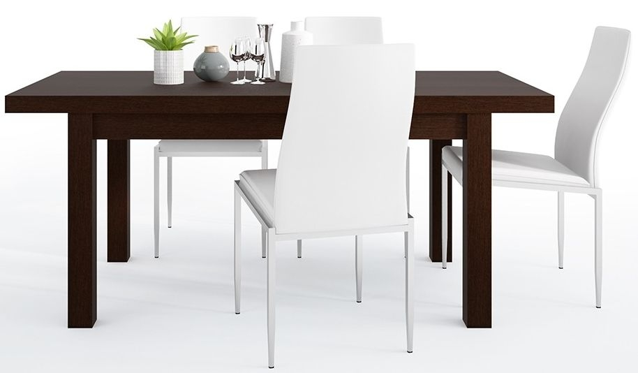 Pello Extending Dining Table and 4 Milan White Chairs - Dark Mahogany