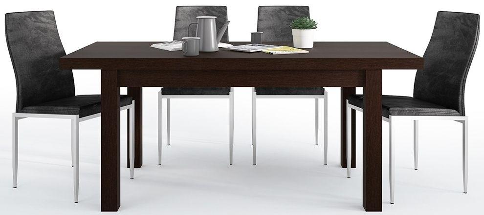 Pello Extending Dining Table and 6 Milan Black Chairs - Dark Mahogany