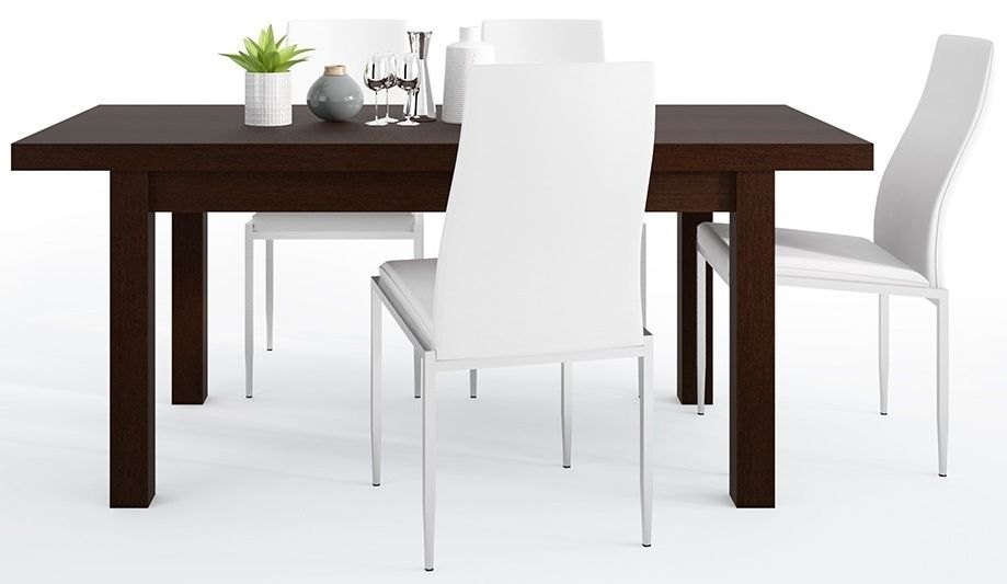 Pello Extending Dining Table and 6 Milan White Chairs - Dark Mahogany
