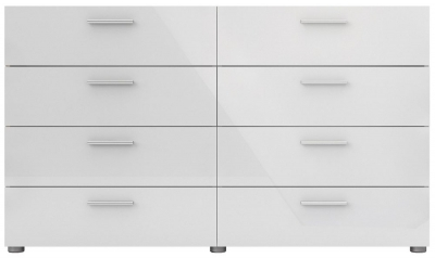 Pepe 8 Drawer Wide Chest - Oak and White High Gloss