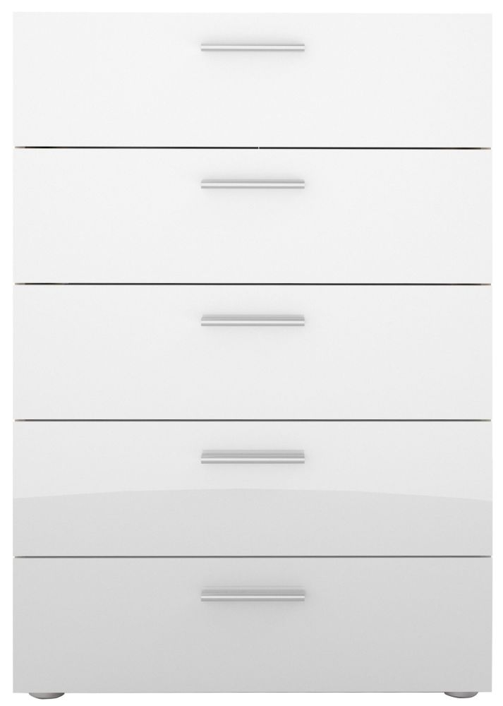 Pepe 5 Drawer Chest - Oak and White High Gloss