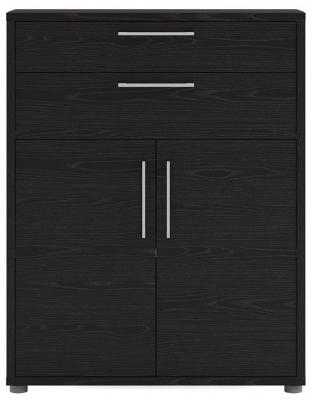 Prima Black 2 Door 2 Drawer Bookcase