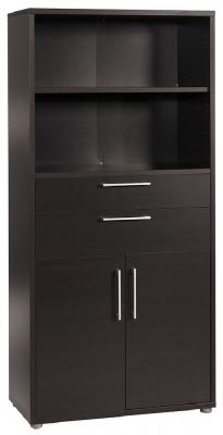 Prima Black 2 Door 2 Drawer with 4 Shelves Bookcase