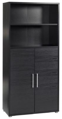 Prima Black 2 Door with 4 Shelves Bookcase