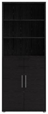 Prima Black 2 Door with 5 Shelves Bookcase
