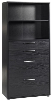 Prima Black 4 Drawer with 4 Shelves Bookcase