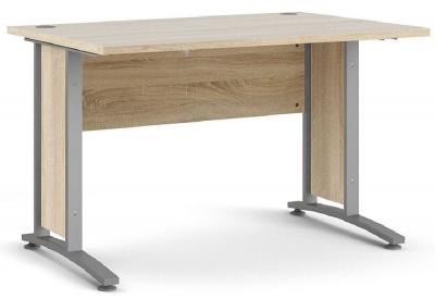 Prima Oak 120cm Desk with Silver Legs