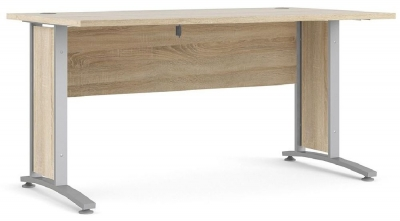 Prima Oak 150cm Desk with Silver Legs