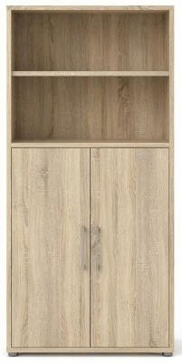 Prima Oak 2 Door with 4 Shelves Bookcase