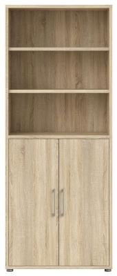 Prima Oak 2 Door with 5 Shelves Bookcase