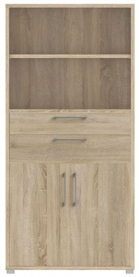 Prima Oak 2 Door 2 Drawer with 4 Shelves Bookcase