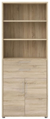 Prima Oak 2 Door 2 Drawer with 5 Shelves Bookcase