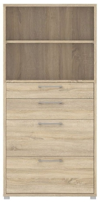 Prima Oak 4 Drawer with 4 Shelves Bookcase
