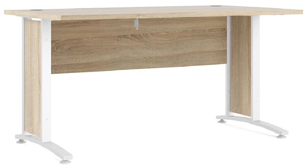 Prima Oak 150cm Desk with White Legs