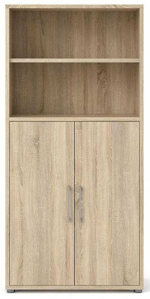 Prima Oak 2 Door with 4 Shelves Bookcase