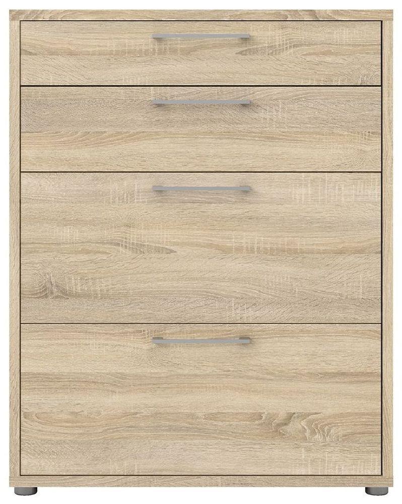 Prima Oak 4 Drawer Bookcase