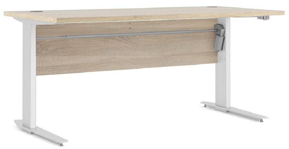 Prima White 150cm Desk with White Electric Height Adjustable Legs