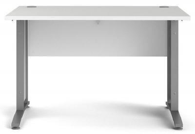 Prima White 120cm Desk with Silver Legs