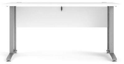 Prima White 150cm Desk with Silver Legs