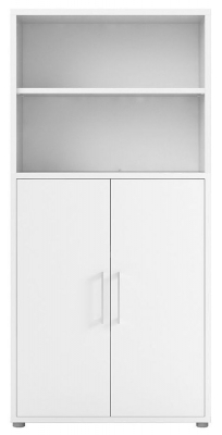 Prima White 2 Door with 4 Shelves Bookcase