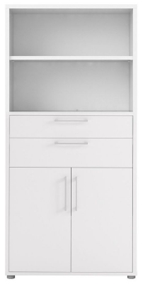 Prima White 2 Door 2 Drawer with 4 Shelves Bookcase