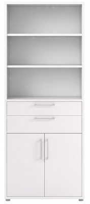 Prima White 2 Door 2 Drawer with 5 Shelves Bookcase