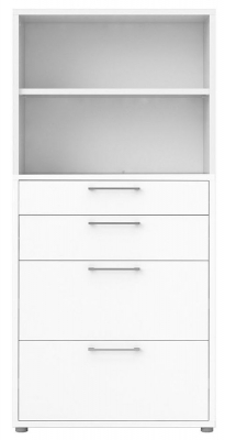 Prima White 4 Drawer with 4 Shelves Bookcase