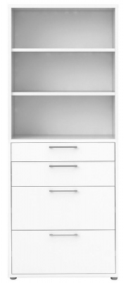 Prima White 4 Drawer with 5 Shelves Bookcase