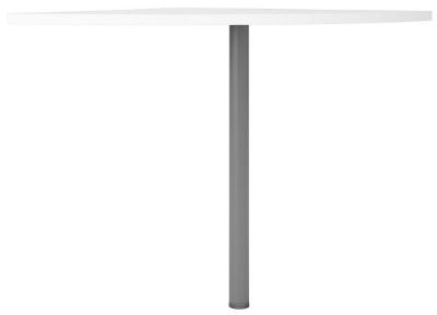 Prima White Corner Desk with Silver Leg