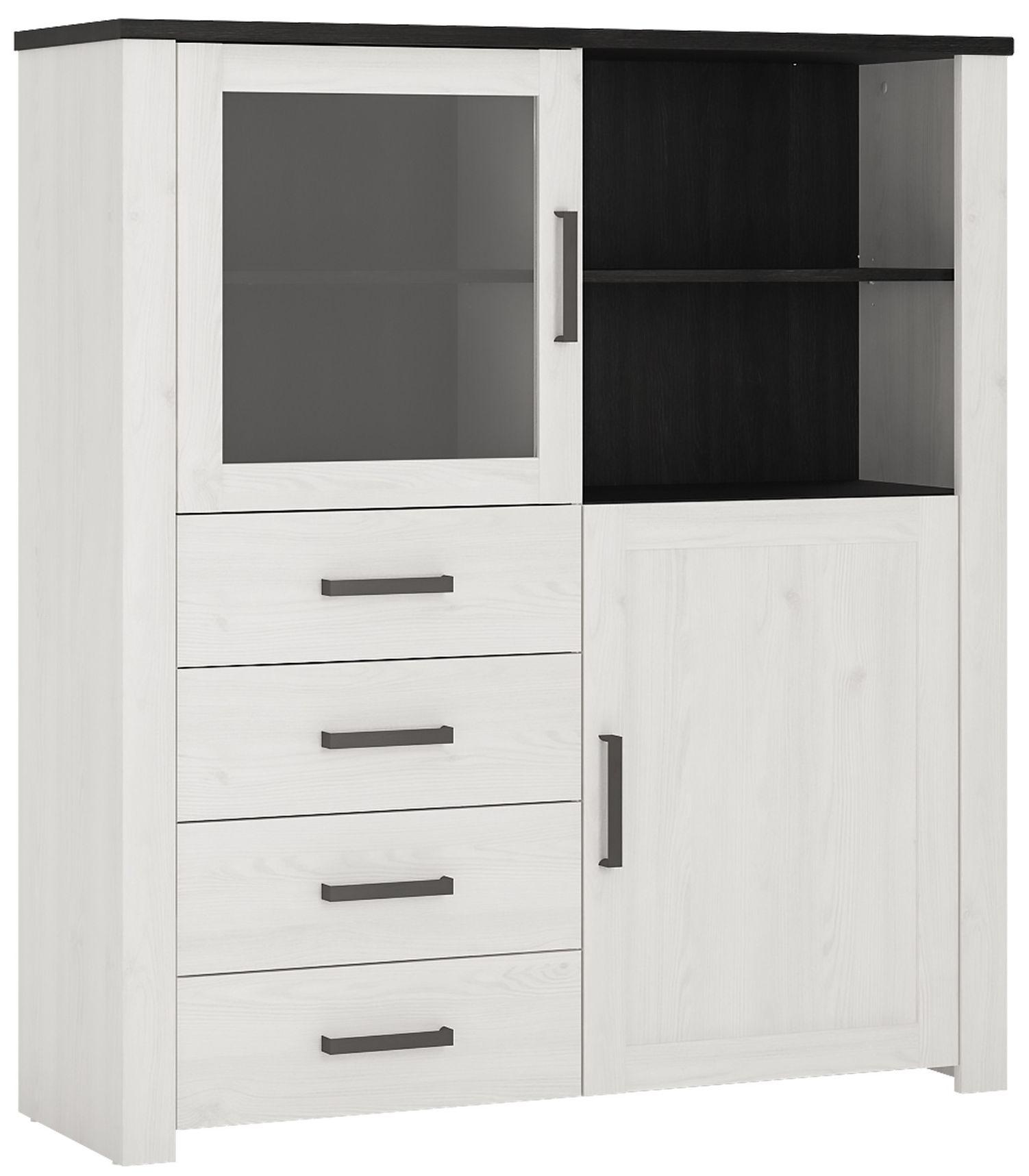 Provence Whitewash Larch Display Cabinet - 2 Door 4 Drawer