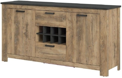 Rapallo Chestnut and Matera Grey 2 Door Sideboard with Wine Rack
