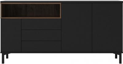 Roomers Black and Walnut 3 Door Sideboard