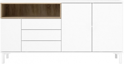 Roomers White and Oak 3 Door Sideboard