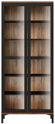 Roomers Black and Walnut Glazed Display Cabinet