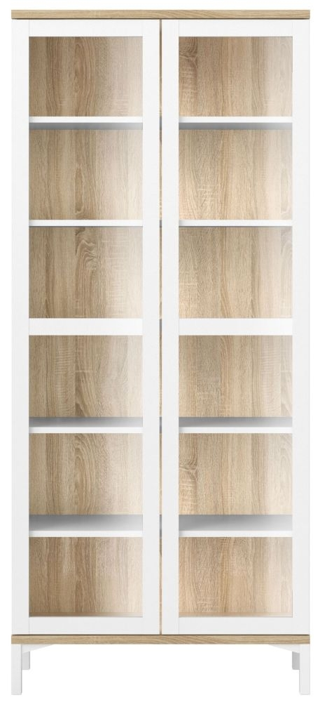 Roomers Glazed Display Cabinet - White and Oak