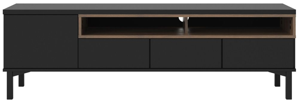 Roomers TV Unit - Black and Walnut