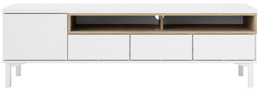 Roomers TV Unit - White and Oak