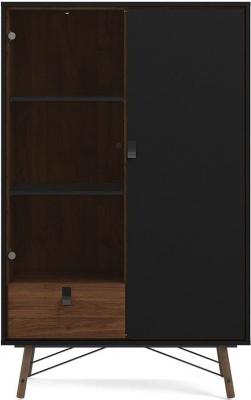 Ry Matt Black and Walnut Display Cabinet