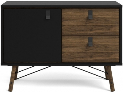 Ry Matt Black and Walnut Sideboard
