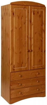 Scandi Solid Pine 2 Door Tall Wardrobe
