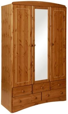 Scandi Solid Pine 3 Door Mirror Wardrobe