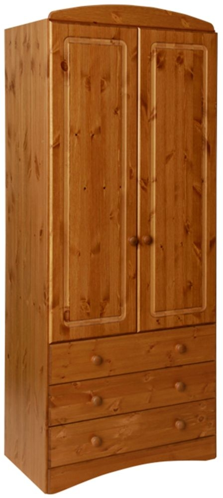 Scandi Solid Pine 2 Door Tall Wardrobe