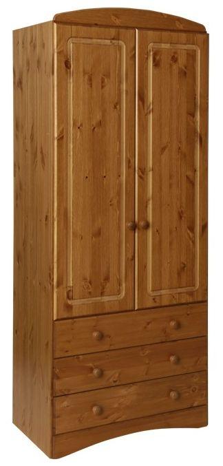 Scandi Pine Wardrobe - 2 Door 3 Drawer