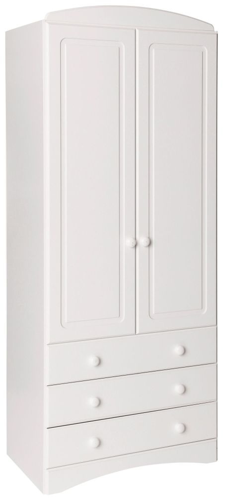 Scandi White 2 Door Tall Combi Wardrobe