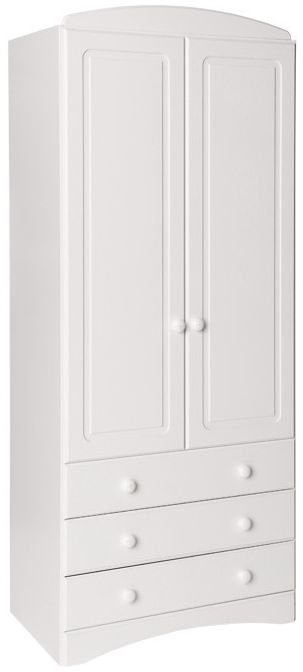 Scandi White Wardrobe - 3 Drawer 2 Door