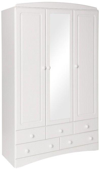 Scandi White Wardrobe - 5 Drawer 3 Door with Mirror
