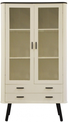 Scandinavian Style White and Black Display Cabinet