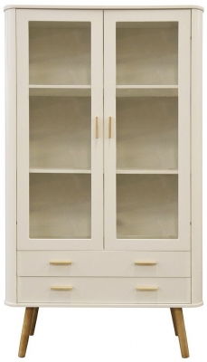 Scandinavian Style White and Oak Display Cabinet